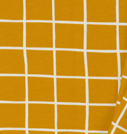 by Poppy designed for you GOTS French Terry Brushed Grid Ochre