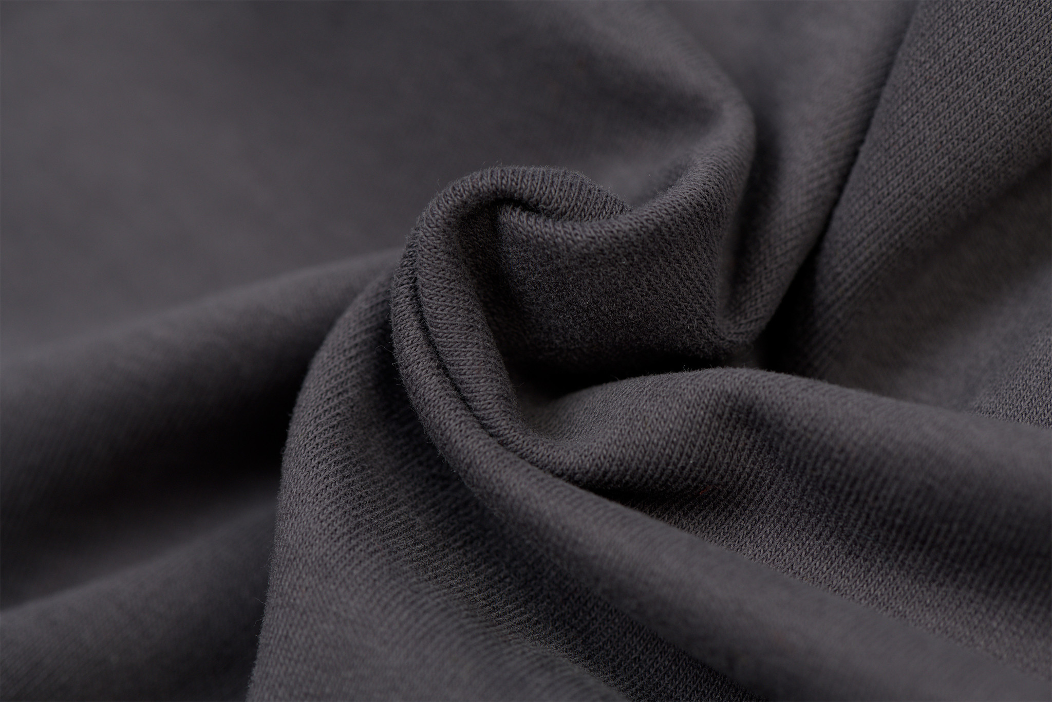 by Poppy designed for you GOTS French Terry Brushed Uni / Effen Antrachite