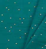Double Gauze / Mousseline Smaragd / Gouden Studs