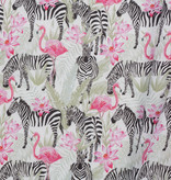 Katoen Poplin Zebra & Flamingo