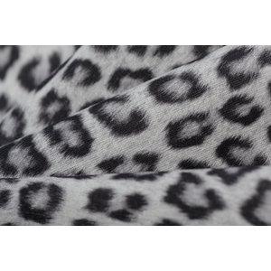 Katoen Poplin Leopard Animal Grey