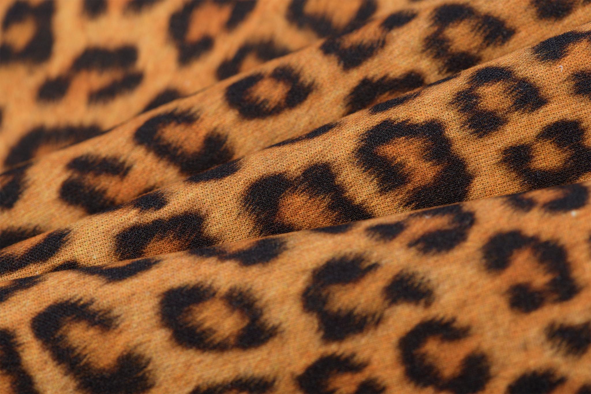 Katoen Poplin Leopard Animal Gold Yellow
