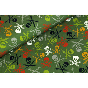 Megan Blue Fabrics French Terry Brushed Pirate Skulls Army