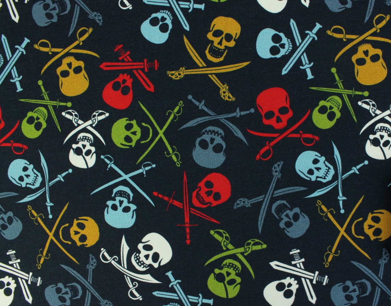 Megan Blue Fabrics French Terry Brushed Pirate Skulls Navy
