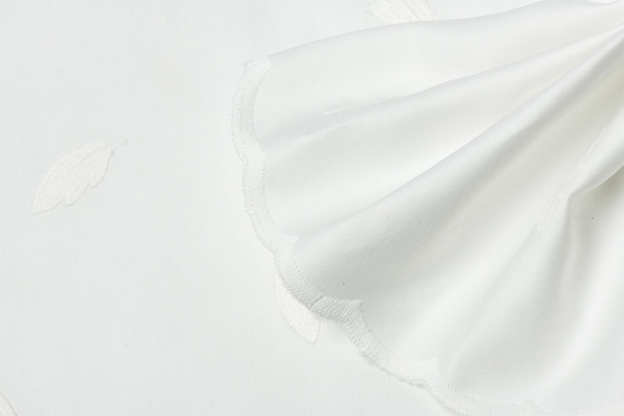 Qjutie Kids Cotton Poplin Embroderie Feathers Ecru