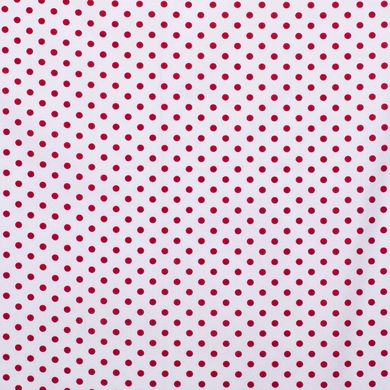 Katoen middel stip wit / rood