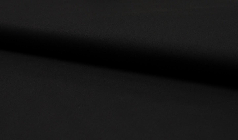 Stretch Katoen Poplin Uni / Effen Zwart