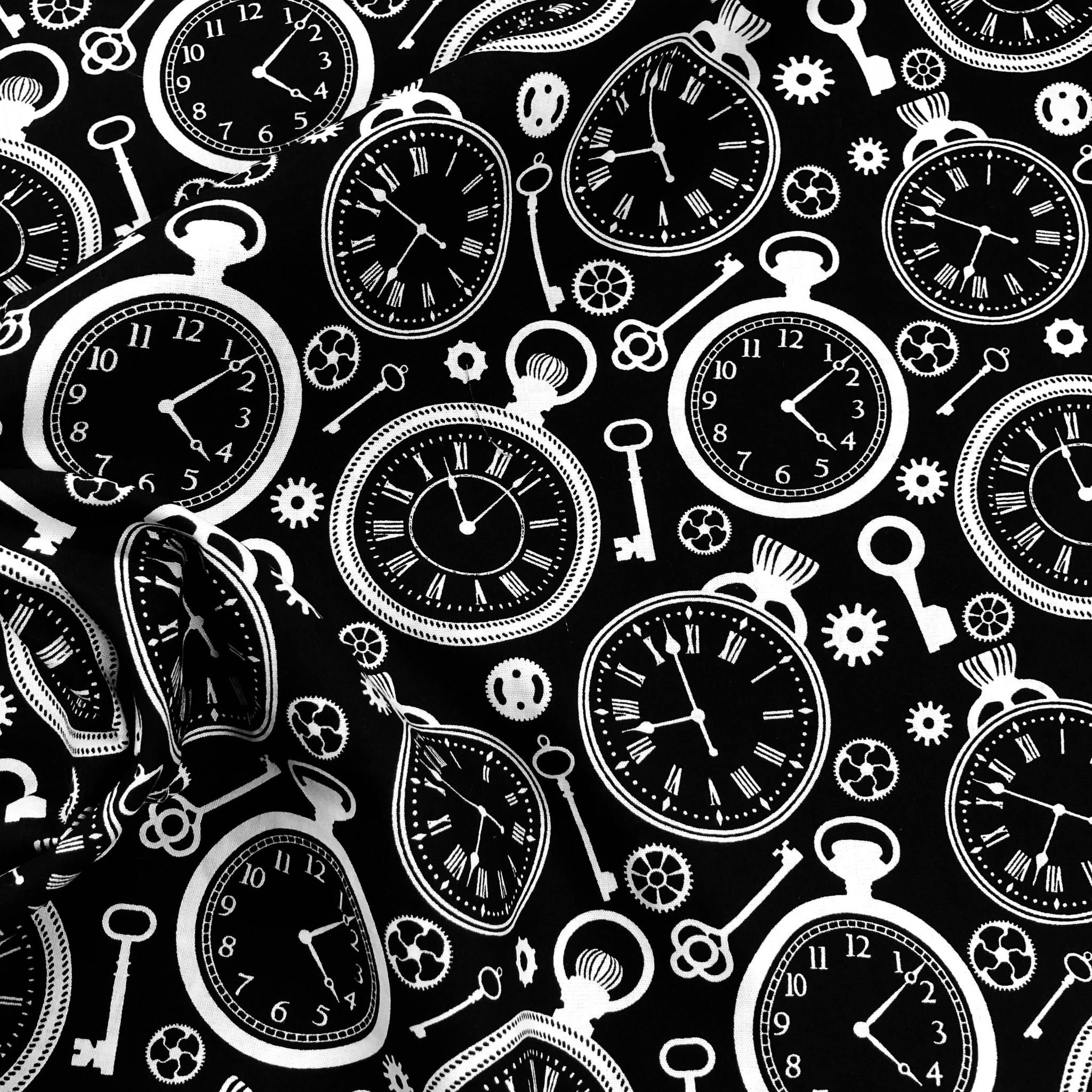 Katoen Poplin Clocks Black