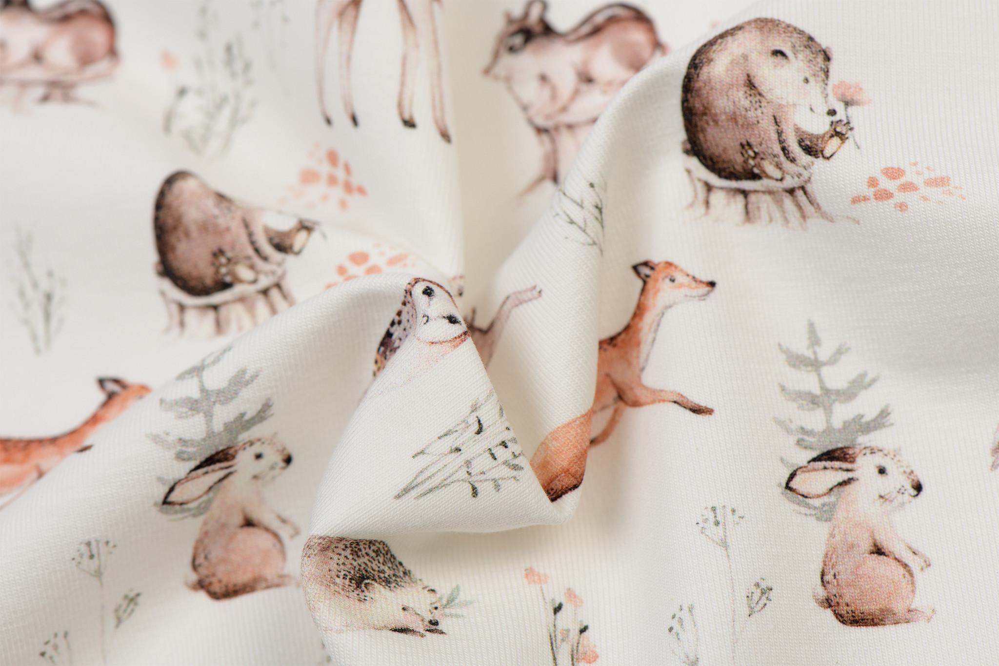 Jersey Katoen Digitale Print - Bos Dieren