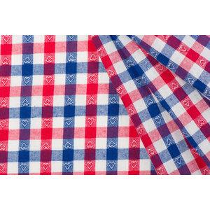 Boerenbont ruit stof, 1 cm rood-wit-blauw met hartjes