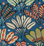 Deco Stof Painted Leaves Blue