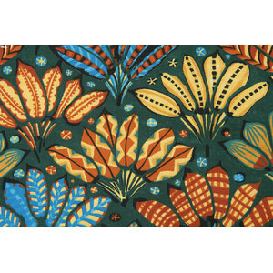 Deco Stof Painted Leaves Green