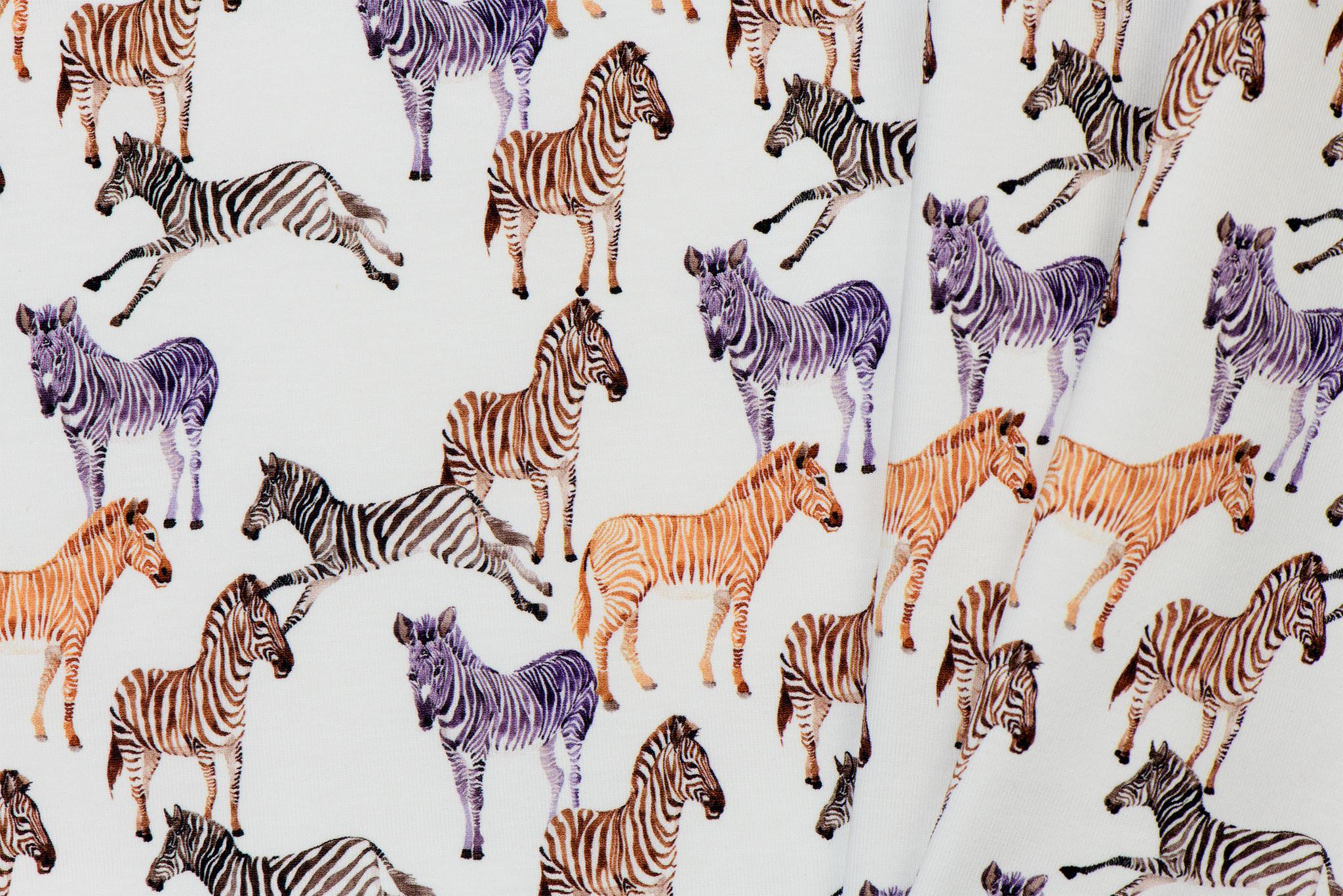 Jersey Katoen Digitale Print -  Zebra's