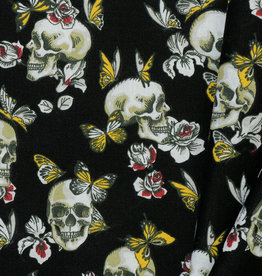 Katoen Skull Butterfly and Roses Black