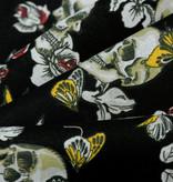 Katoen Skull Butterfly and Roses Black