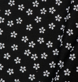 by Poppy designed for you Katoen Poplin Flower & Stripes Black