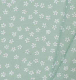 by Poppy designed for you Katoen Poplin Flower & Stripes Mint