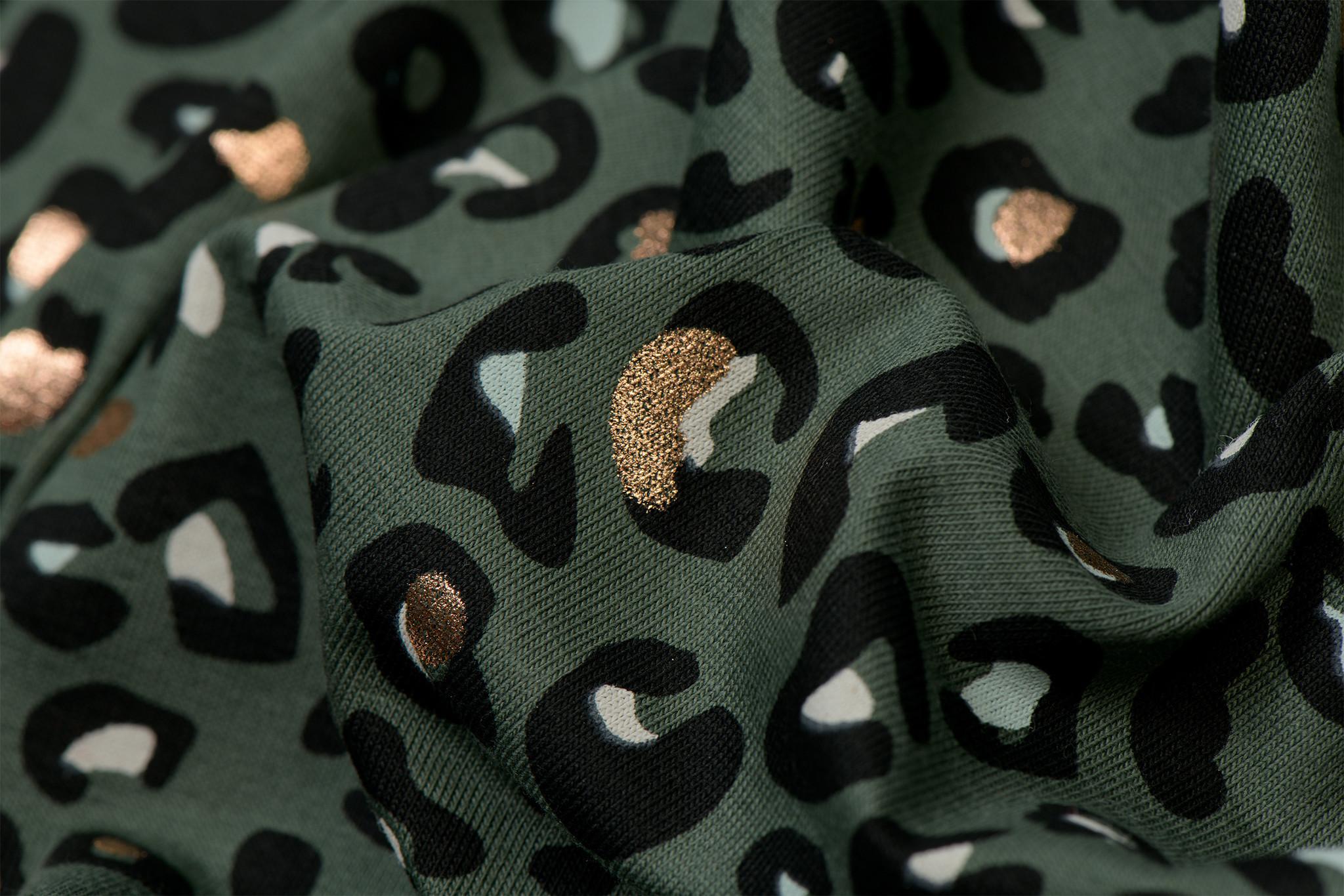 Qjutie Kids Tricot Foil Print Panter Army
