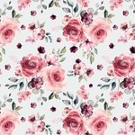 Toff Designs Jersey Romantic Roses Off White