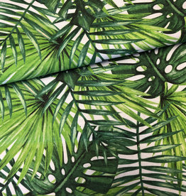 Deco Stof Tropical Leaves Green