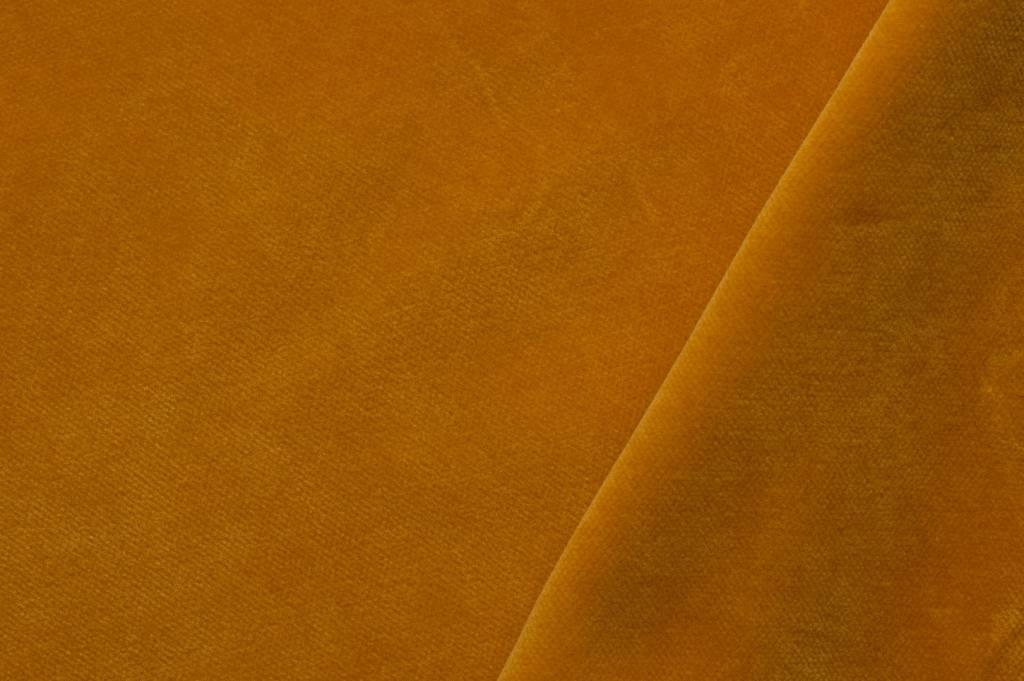 Velours stof, warm geel (oker)