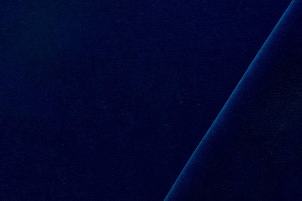 Velours stof, kobaltblauw