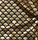 Lycra bedrukt met gouden schubben