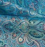 Brokaat stof, fancy paisley turquoise gekleurd