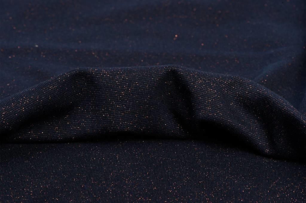 Boordstof fijn, glitter marine/brons lurex