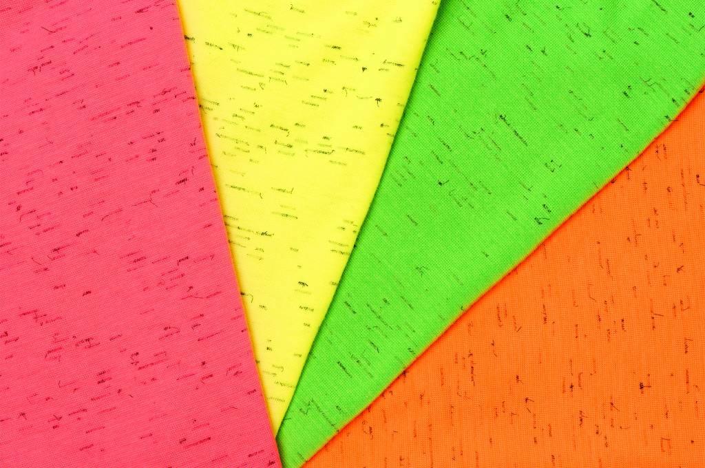 Boordstof fijn, fluoriserend oranje melange