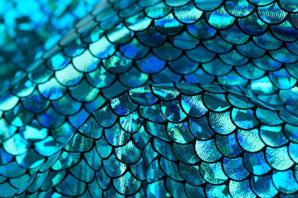 Lycra Bedrukt Met Kleine Schubben Turquoise