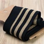 Boord Cuffs Met Strepen Zwart/Goud