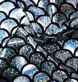 Lycra bedrukt met zilveren schubben