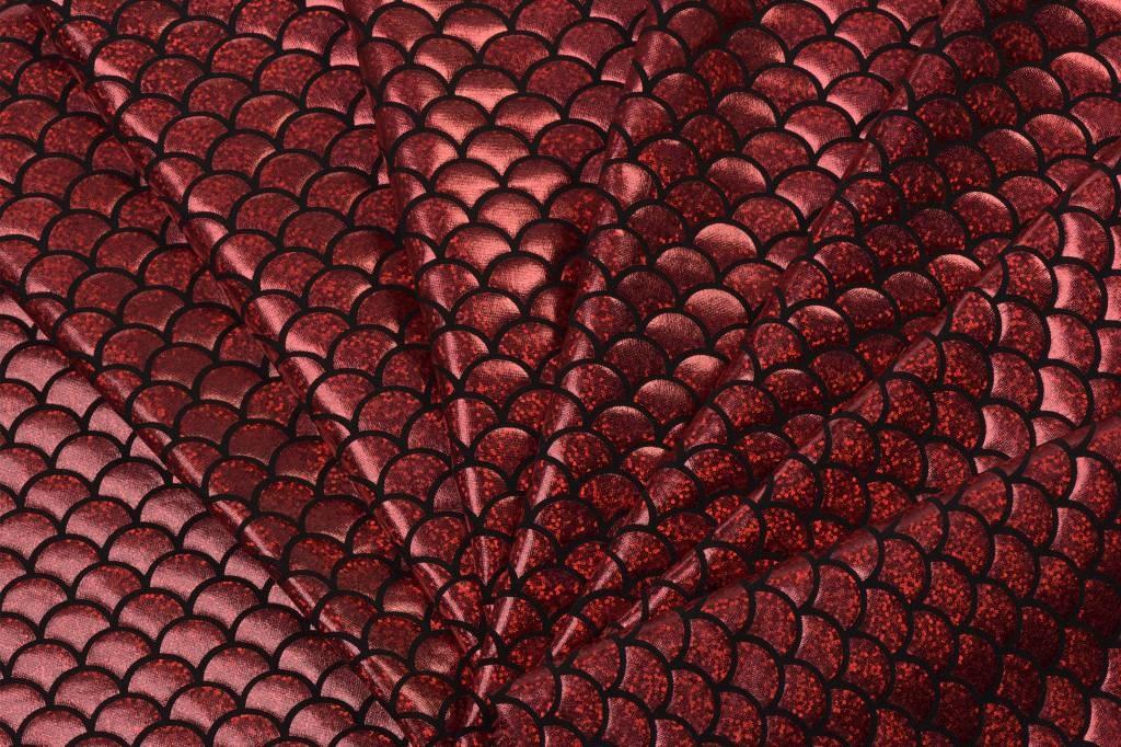 Lycra bedrukt met rode schubben