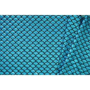 Lycra bedrukt met turquoise schubben