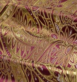 Brokaat Floral Bordeaux-Goud