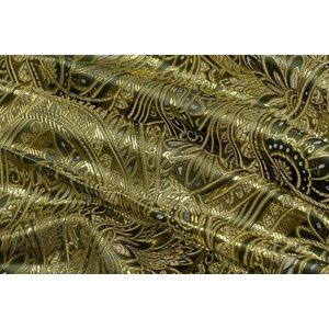 Brokaat Floral Donkergroen-Goud