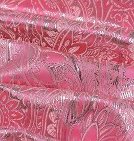 Brokaat Floral Rose-Zilver
