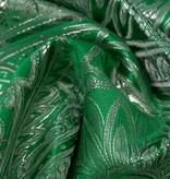 Brokaat Floral Groen-Zilver