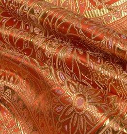 Brokaat Floral Oranje-Goud