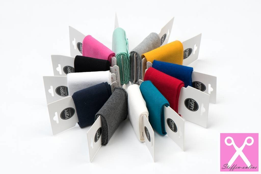 by Poppy designed for you Boordstof / Cuffs Uni / Effen Rood