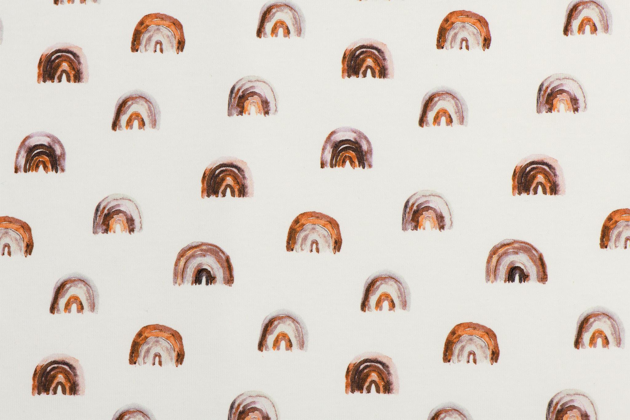 Jersey Katoen Digitale Print - Mini Regenboog Licht Bruin