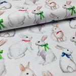 Deco Stof White Bunnies