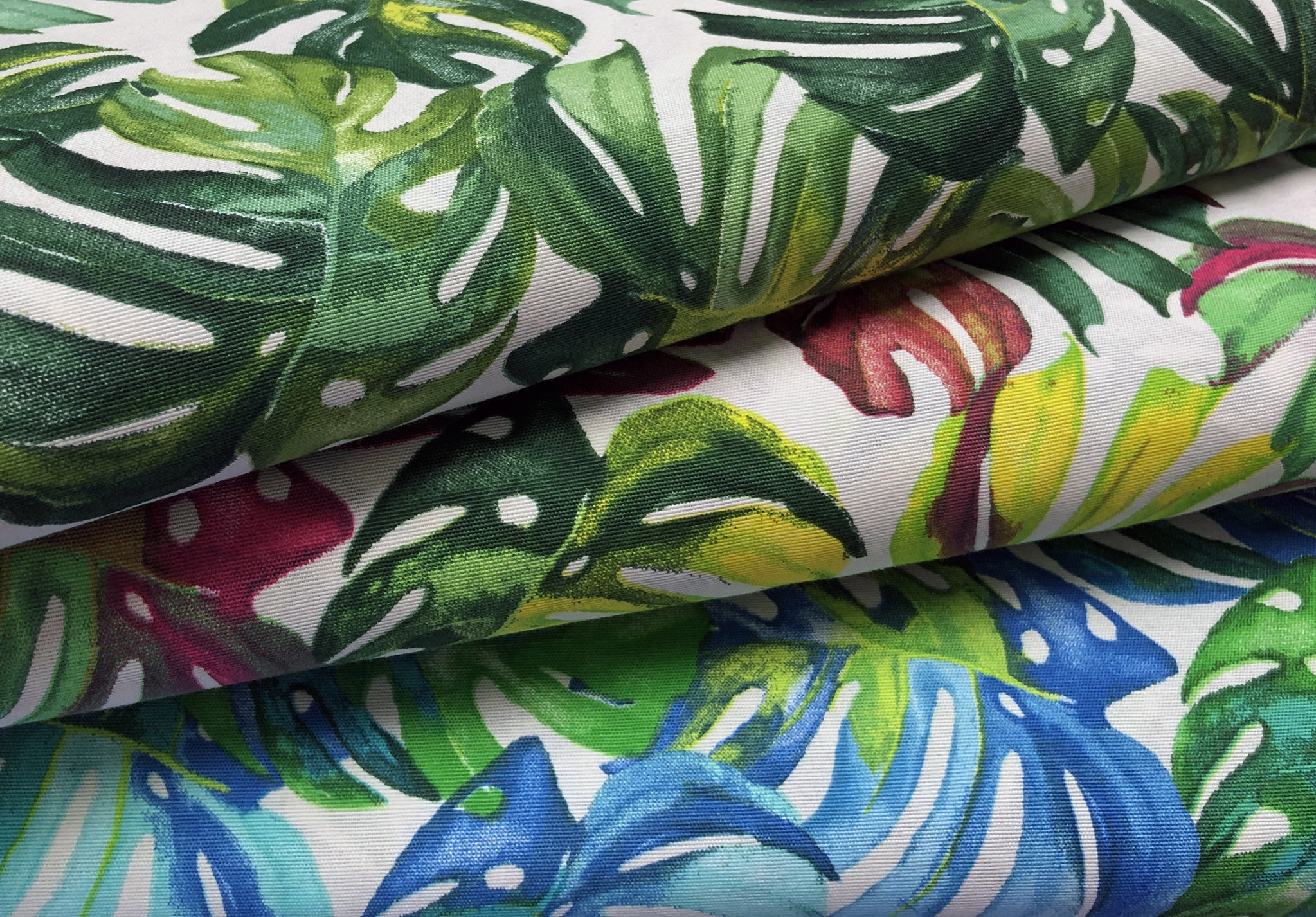 Deco Stof Tropical Leaves Colored