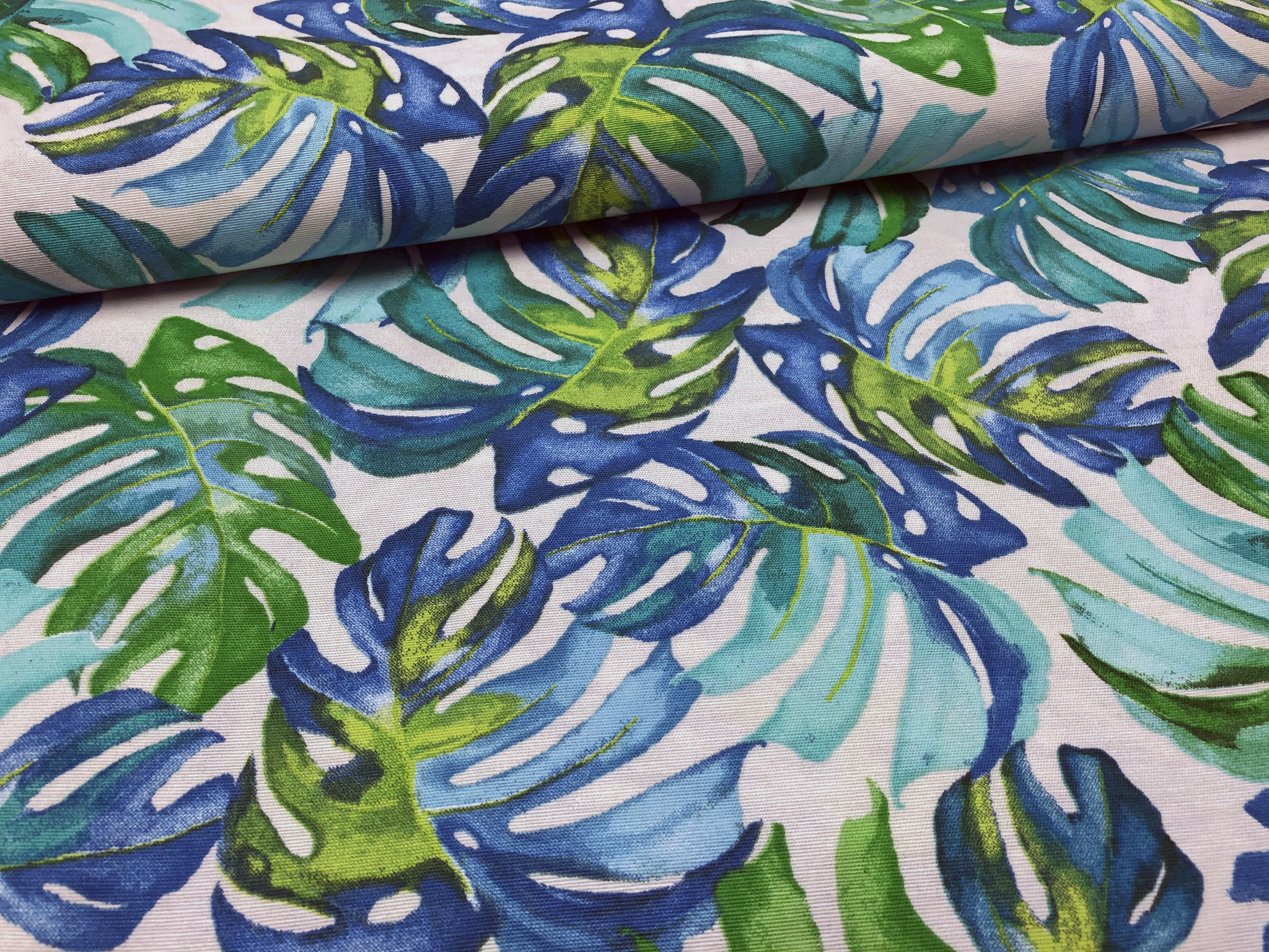 Deco Stof Tropical Leaves Blue