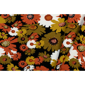 by Poppy designed for you GOTS French Terry Brushed Big Flowers Black