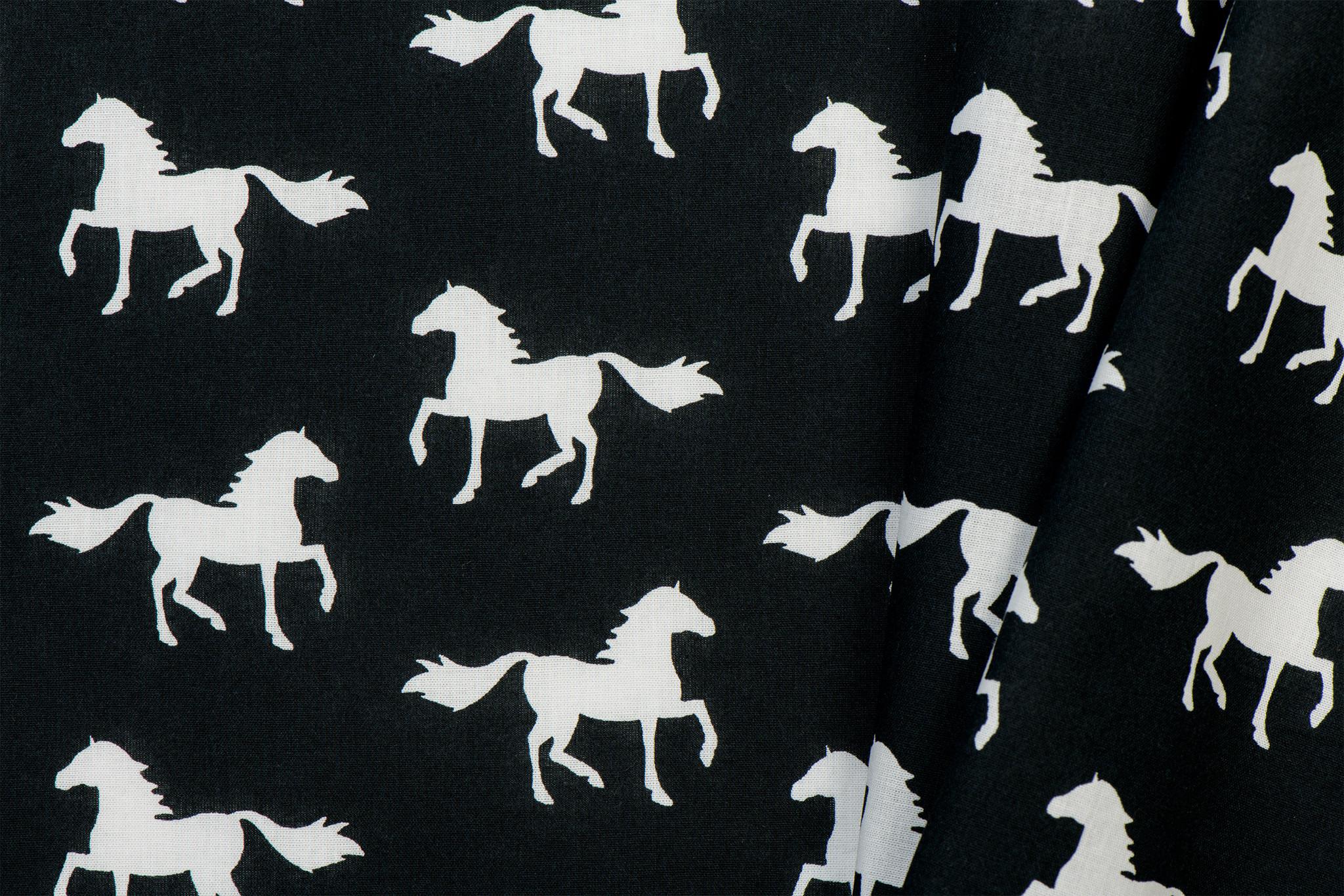 Katoen Paarden Black & White