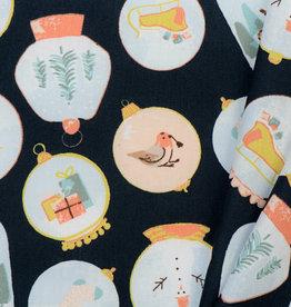 by Poppy designed for you Katoen Poplin Christmas Navy