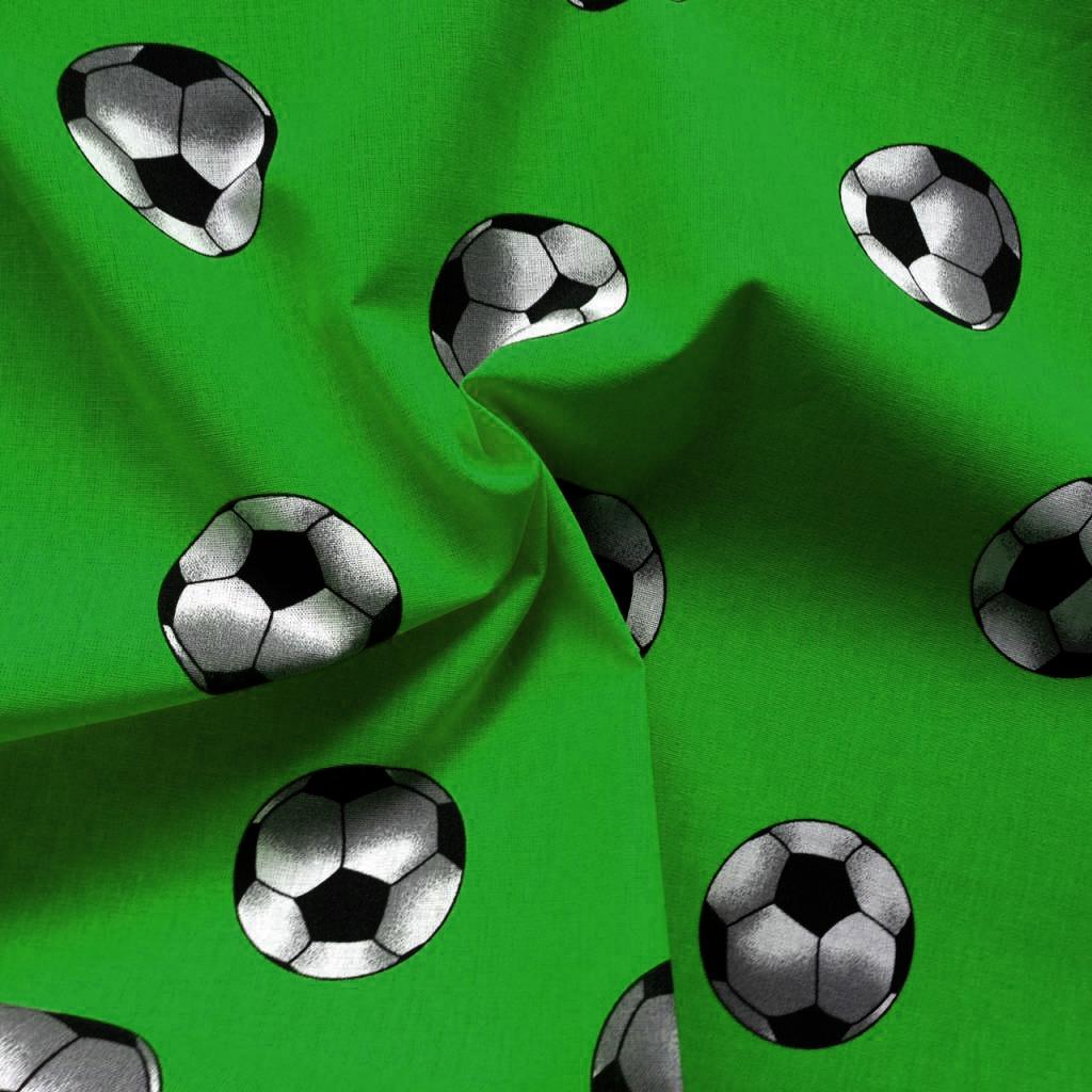 Voetbalstoffen Groen voetbal