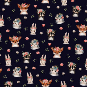 by Poppy designed for you GOTS Tricot Woodland Animals Black